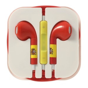 Spain Flag Pattern 3.5MM In-ear Earphone with Remote & Mic for iPhone 5s 5