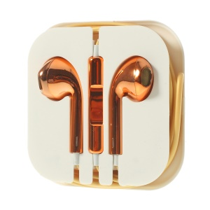 Electroplated In-Ear 3.5mm Earphone Headset with Mic for iPhone iPad iPod Samsuang - Orange