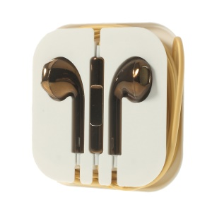 Electroplating In-Ear 3.5mm Earphone Headset with Mic for iPhone iPad iPod Samsuang - Coffee