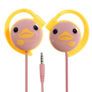 KEEKA Cute Duck 3.5mm Noodle Shape Earbud Earphone w/ Mic for iPhone iPod Samsung LG Sony HTC MP3 MP4 - Pink