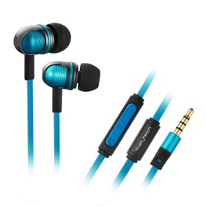 Wallytech W801 3.5mm Plug Metallic In-Ear Earphone w/ Remote & Mic for iPhone iPad - Blue