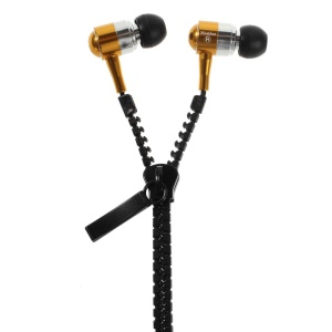 Mosidun M16 3.5mm In-Ear Zipper Headset Earphone with Mic for iPhone - Gold