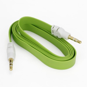 Noodle 3.5mm Male to 3.5mm Male Stereo Aux Audio Cable for Laptop PC MP3 MP4 CD, Length: 1M - Green