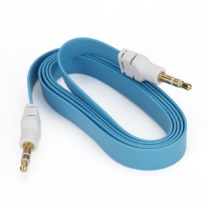 Noodle 3.5mm Male to 3.5mm Male Stereo Aux Audio Cable for Laptop PC MP3 MP4 CD, Length: 1M - Blue