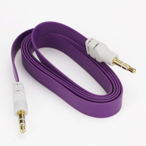 Noodle 3.5mm Male to 3.5mm Male Stereo Aux Audio Cable for Laptop PC MP3 MP4 CD, Length: 1M - Purple