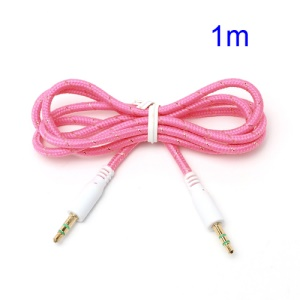 Woven 3.5mm Male to Male M/M Stereo Audio Cord Cable for PC iPhone MP3 MP4 - Pink