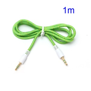 Woven 3.5mm Male to Male Stereo AUX Audio Jack Cable Cord for PC iPhone MP3 MP4 - Green