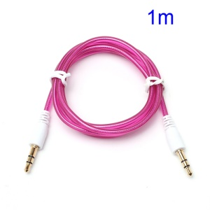 1M Stereo 3.5mm Male to Male Transparent Aux Cable for iPhone MP3 MP4 - Rose