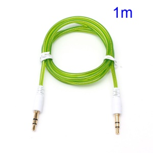1M 3.5mm Male to Male Stereo Transparent Aux Audio Cable for iPhone MP3 MP4 - Green