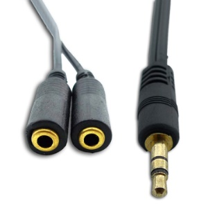 Brand New 3.5mm Male to 2 Female Audio Splitter Adapter Cable