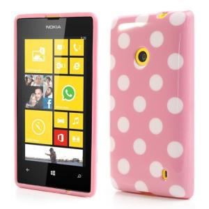 Polka Dots Jelly TPU Case for Nokia Lumia 520 525 - White Dots / Pink