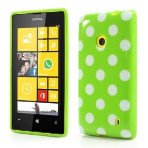 Polka Dots TPU Case for Nokia Lumia 520 525 - White Dots / Green