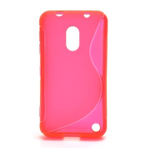 S Shape Candy Flex TPU Gel Case Cover for Nokia Lumia 620;Red