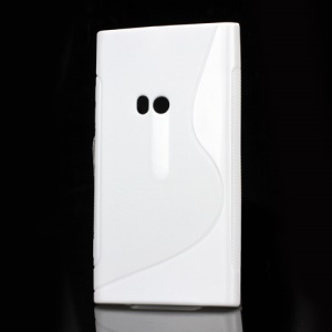 S Shape TPU Gel Back Case for Nokia Lumia 920 - White