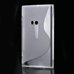 S Shape TPU Gel Back Case for Nokia Lumia 920 - Transparent