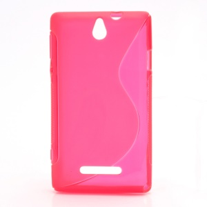 Skidproof Slim S Line TPU Jelly Case for Sony Xperia E Dual C1605 C1604 Xperia E C1505 C1504 - Rose