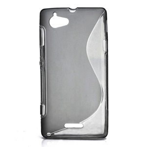 S Shape Gel TPU Case Cover for Sony Xperia L S36h C2105 C2104 - Translucent Grey