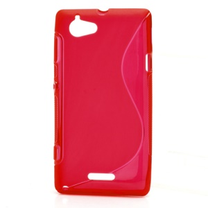 S Shape Gel TPU Case Cover for Sony Xperia L S36h C2105 C2104 - Translucent Red