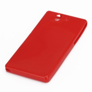 Soft Jelly Glossy TPU Skin Case for Sony Xperia Z L36h Yuga C6603 - Red