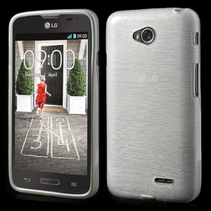 White Glossy Outer Brushed Inner Soft TPU Case for LG L70 D320 D320N