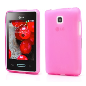 Double-side Frosted Jelly TPU Case Cover for LG Optimus L3 II E430 E425 - Rose
