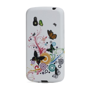 Vivid Butterflies Circle TPU Gel Case for LG E960 Google Nexus 4