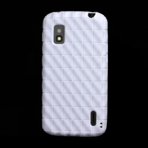 Anti-slip Water Cube Wave TPU Gel Case for LG E960 Mako Google Nexus 4 - White