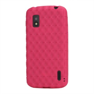 Anti-slip Water Cube Wave TPU Gel Case for LG E960 Mako Google Nexus 4 - Rose