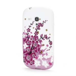 Pink Plum Flowers Matte TPU Gel Cover for Samsung Galaxy S III / 3 Mini I8190