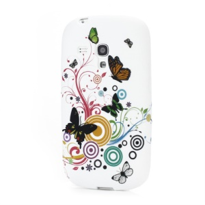 Colorized Butterflies Floral Frosted TPU Gel Cover for Samsung Galaxy S III / 3 Mini I8190