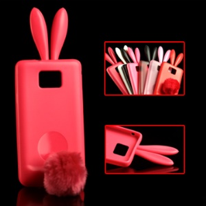 Vivid Rabbit TPU Case with Soft Velvet Mini Holder for Samsung I9100 Galaxy S 2;Red