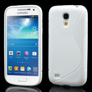 S Shape TPU Jelly Case Cover for Samsung Galaxy S4 mini I9190 I9192 I9195 - White