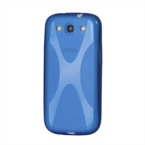 Premium X Shape TPU Gel Case for Samsung Galaxy S 3 / III I9300 I747 L710 T999 I535 R530 - Blue