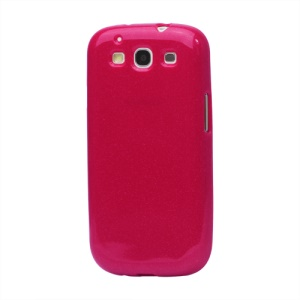 Glittery Powder TPU Skin Case for Samsung Galaxy S 3 / III I9300 I747 L710 T999 I535 R530 - Red