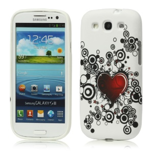 Red Heart TPU Gel Case for Samsung Galaxy S 3 / III I9300 I747 L710 T999 I535 R530