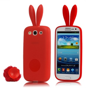 Cute Rabbit Ears Tail TPU Case for Samsung Galaxy S 3 / III I9300 - Red