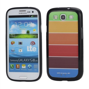 Rainbow Colorful Smooth TPU Gel Back Case for Samsung Galaxy S 3 / III I9300 - Black