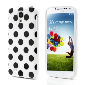 Polka Dots TPU Gel Case for Samsung Galaxy S IV S4 i9500 i9505 - Black Dots / White