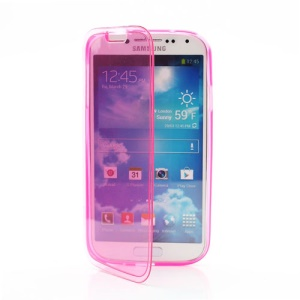 Folio Flip TPU Case for Samsung Galaxy S IV S4 i9500 i9505 - Translucent Rose