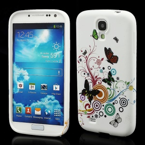 Colorized Butterflies Circle TPU Gel Cover for Samsung Galaxy S IV S4 i9500 i9505