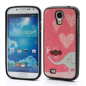 Elephant &amp;amp; Girl Pink Protective TPU Skin Case for Samsung Galaxy S IV S4 i9500 i9502 i9505