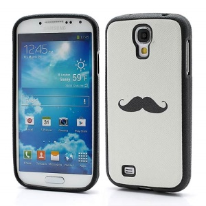 Mustache Pattern TPU Gel Case Shell for Samsung Galaxy S IV S4 i9500 i9502 i9505 - White