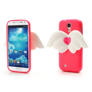 3D Baby Angel Wing Glitter Powder TPU Jelly Case for Samsung Galaxy S IV S4 i9500 i9502 i9505 - Hot Pink
