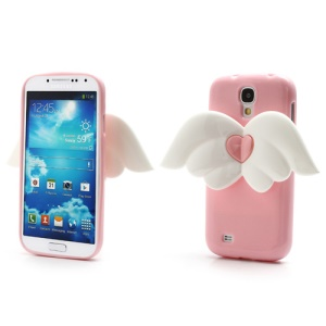 3D Baby Angel Wing Glitter Powder TPU Jelly Case for Samsung Galaxy S IV S4 i9500 i9502 i9505 - Pink