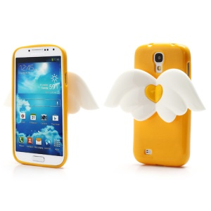 3D Baby Angel Wing Glitter Powder TPU Jelly Case for Samsung Galaxy S IV S4 i9500 i9502 i9505 - Yellow