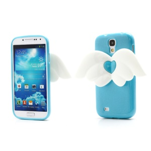 3D Baby Angel Wing Glitter Powder TPU Jelly Case for Samsung Galaxy S IV S4 i9500 i9502 i9505 - Blue