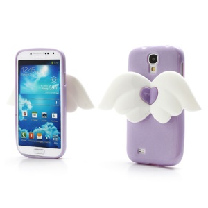 3D Baby Angel Wing Glitter Powder TPU Jelly Case for Samsung Galaxy S IV S4 i9500 i9502 i9505 - Purple