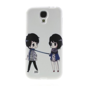 Lovely Cartoon Girl & Boy Flexible TPU Skin Cover for Samsung Galaxy S4 I9500 I9502 I9505