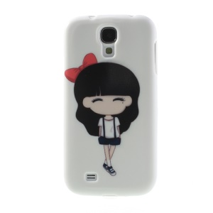 Smiling Cartoon Girl for Samsung Galaxy S4 I9500 Flexible TPU Gel Case
