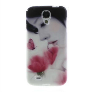 For Samsung Galaxy S4 I9505 Pretty Girl & Roses Soft TPU Jelly Shell